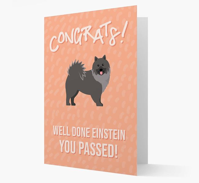 'Congrats! You Passed' Card with Keeshond Icon