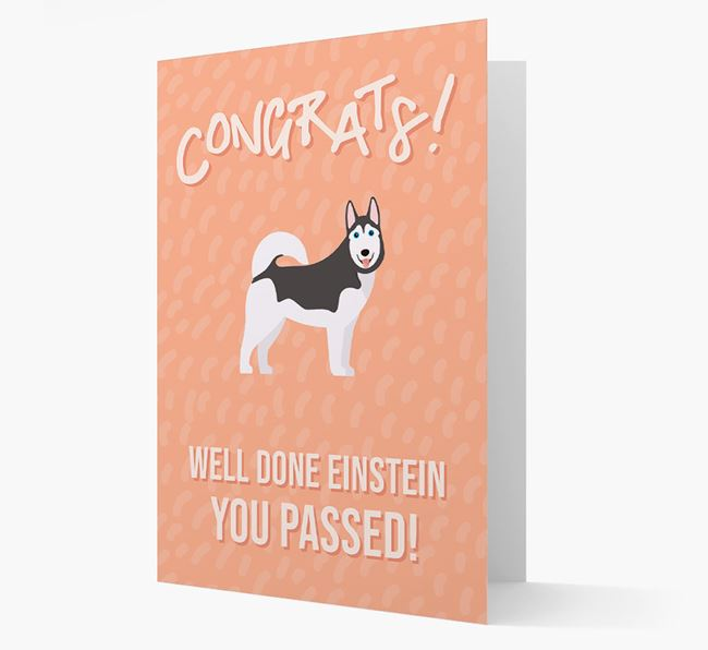 'Congrats! You Passed' Card with Dog Icon