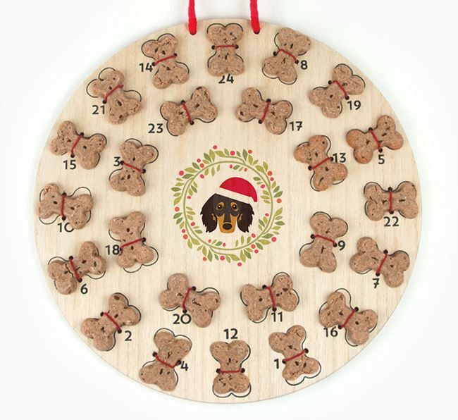 'Christmas Wreath' Advent Calendar - Personalised with your Dachshund