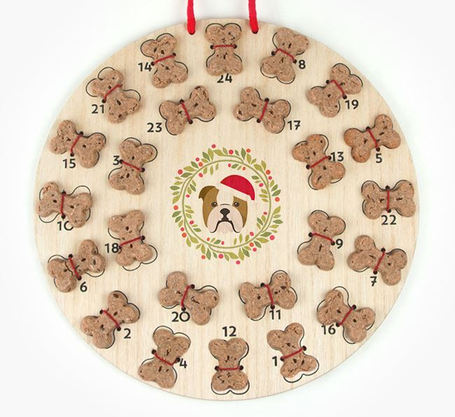 'Christmas Wreath' Advent Calendar - Personalised with your English Bulldog