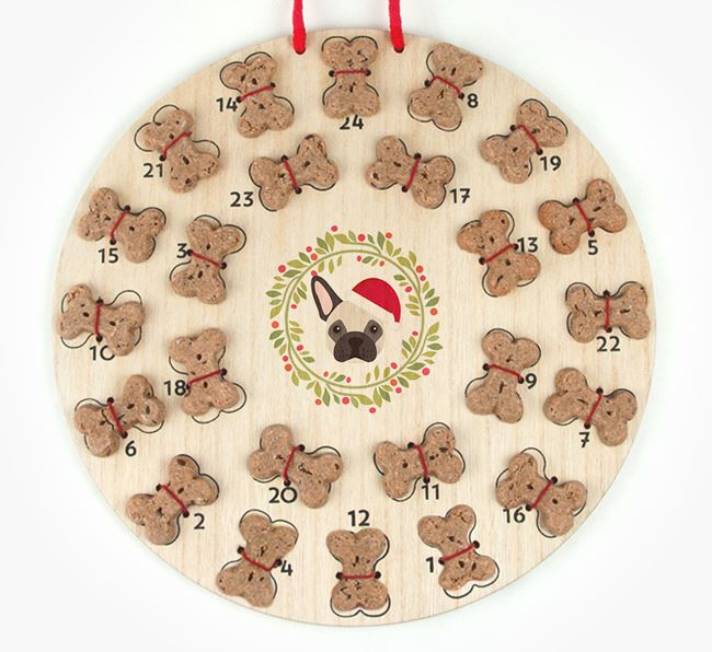 'Christmas Wreath' Advent Calendar - Personalised with your French Bulldog