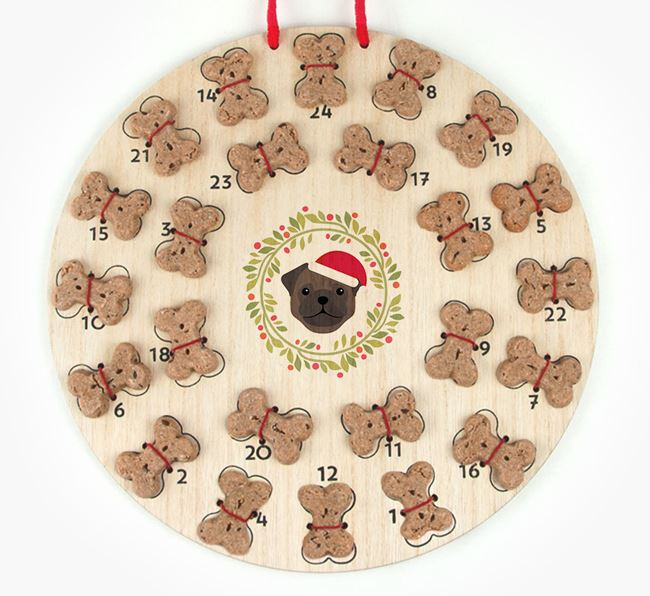 'Christmas Wreath' Advent Calendar - Personalised with your Pug