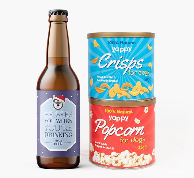 'He sees you when you're drinking' - Personalised Alaskan Klee Kai Beer Bundle with Crisps & Popcorn