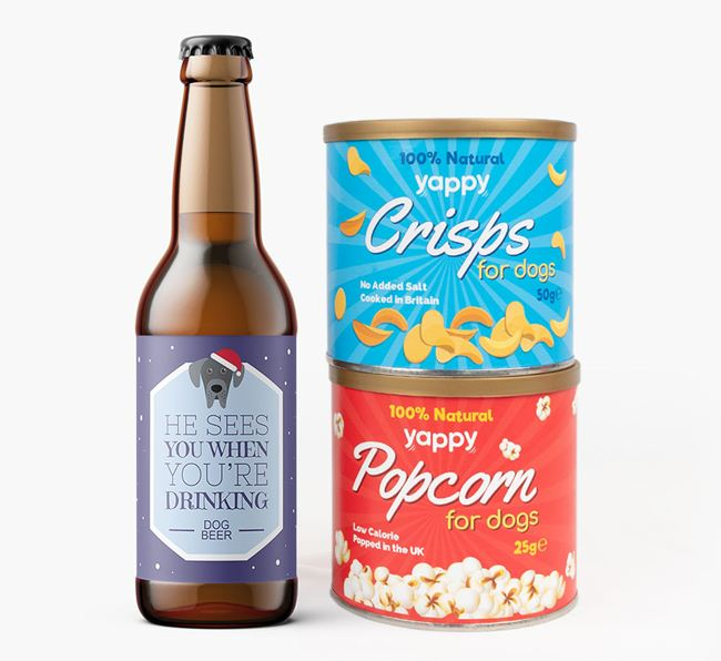'He sees you when you're drinking' - Personalised Great Dane Beer Bundle with Crisps & Popcorn