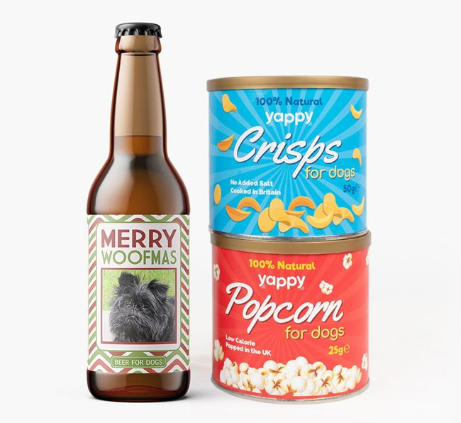 'Merry Woofmas' - Personalised Affenpinscher Beer Bundle with Crisps & Popcorn