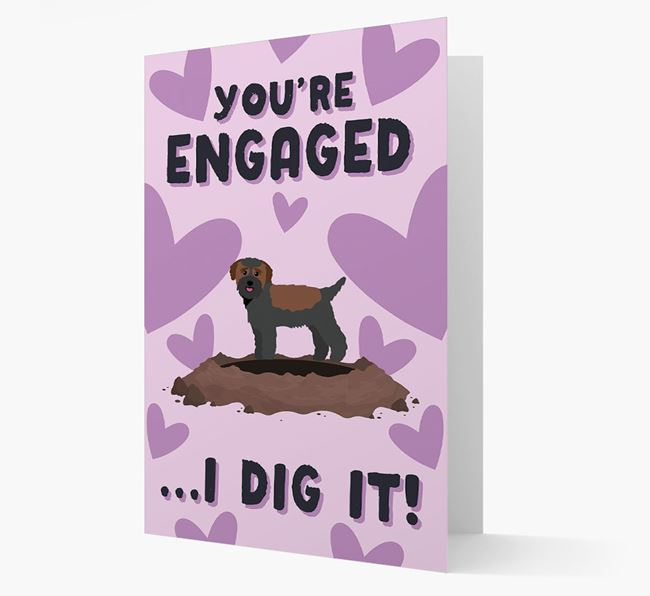 'You're Engaged...I Dig It!' Card with Bichon Yorkie Icon