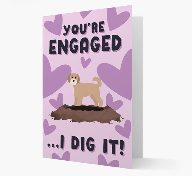 'You're Engaged...I Dig It!' Card with Cavapoochon Icon