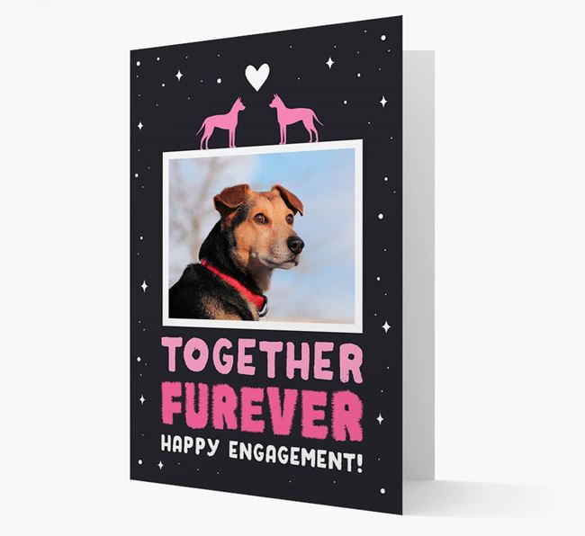 'Together Furever' Engagement Card with Photo of your American Hairless Terrier