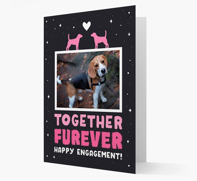 'Together Furever' Engagement Card with Photo of your Beagle