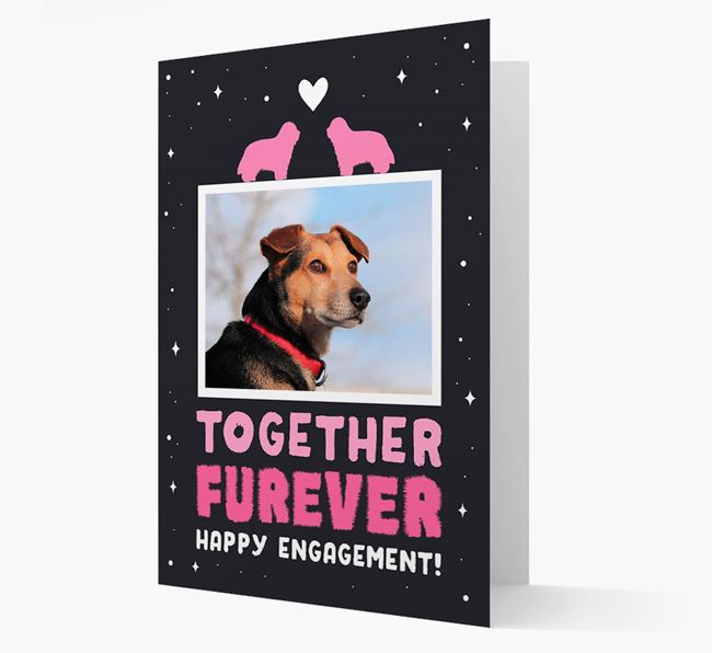 'Together Furever' Engagement Card with Photo of your Bearded Collie