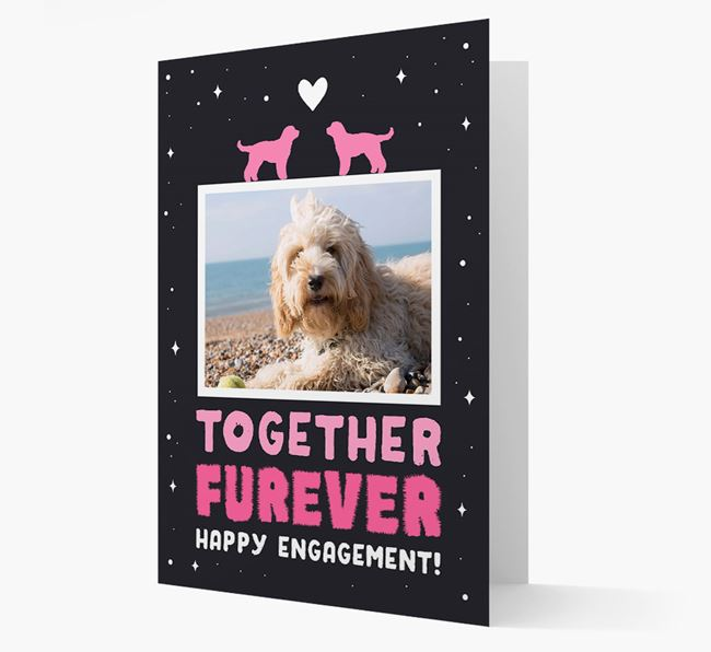'Together Furever' Engagement Card with Photo of your Cockapoo