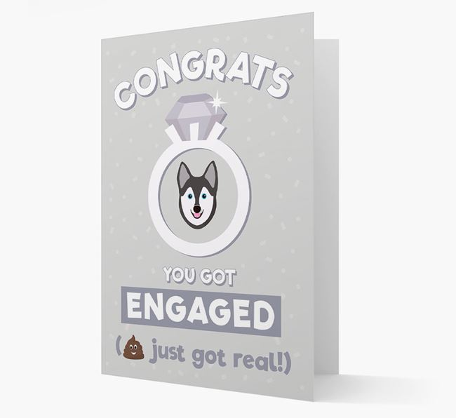 'Congrats You Got Engaged' Card with your Alaskan Klee Kai Icon