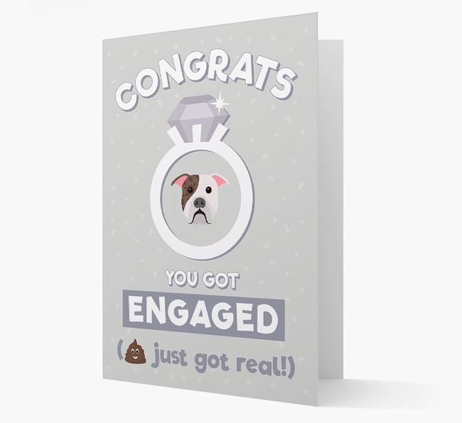 'Congrats You Got Engaged' Card with your American Bulldog Icon