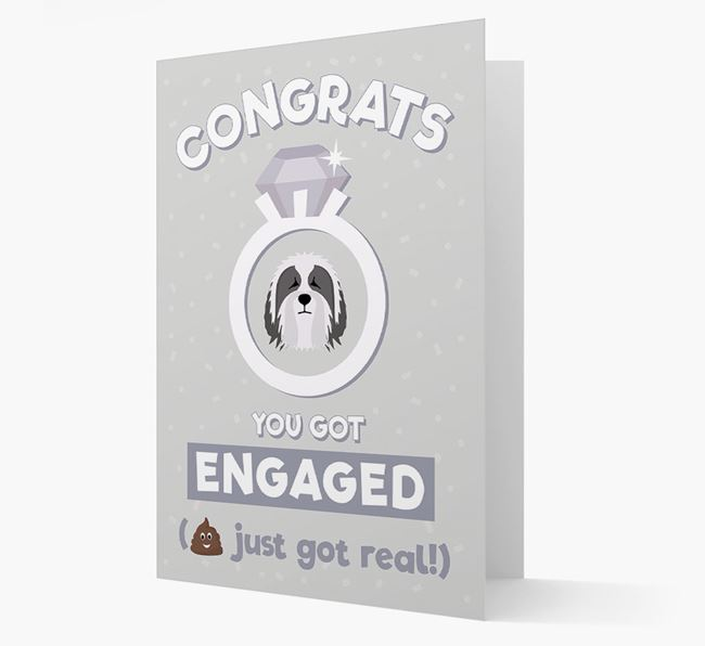 'Congrats You Got Engaged' Card with your Bearded Collie Icon