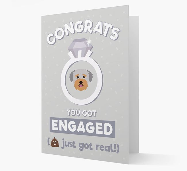 'Congrats You Got Engaged' Card with your Bichon Yorkie Icon