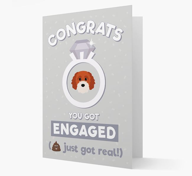 'Congrats You Got Engaged' Card with your Cavapoochon Icon