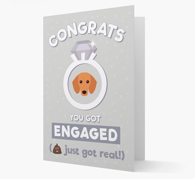 'Congrats You Got Engaged' Card with your Dachshund Icon