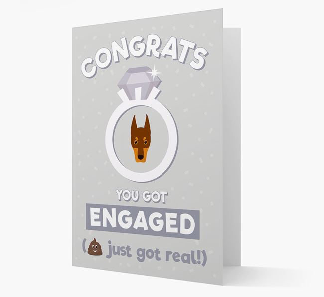 'Congrats You Got Engaged' Card with your Dobermann Icon