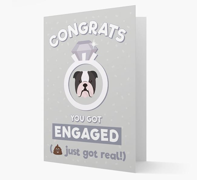 'Congrats You Got Engaged' Card with your English Bulldog Icon