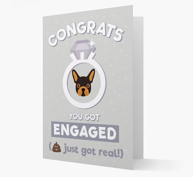 'Congrats You Got Engaged' Card with your French Bulldog Icon