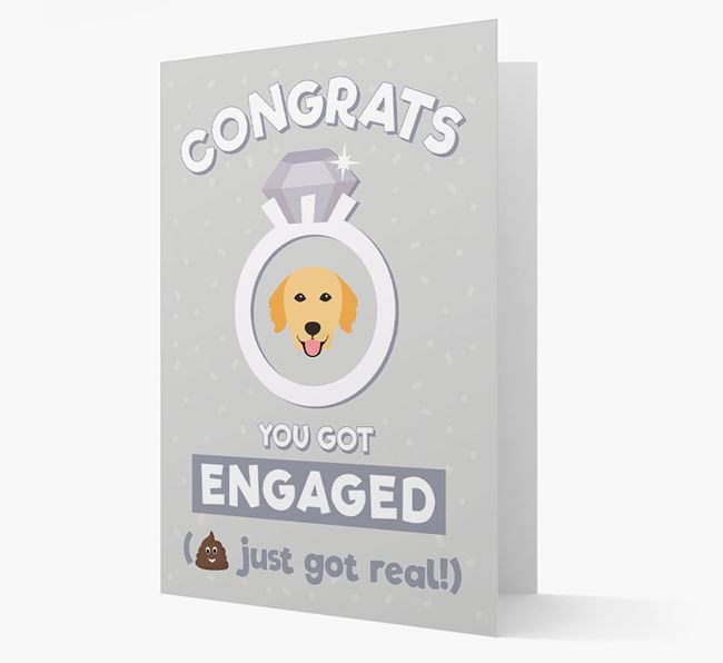 'Congrats You Got Engaged' Card with your Golden Retriever Icon