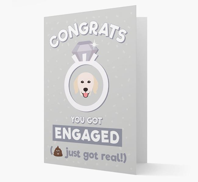 'Congrats You Got Engaged' Card with your Hungarian Kuvasz Icon