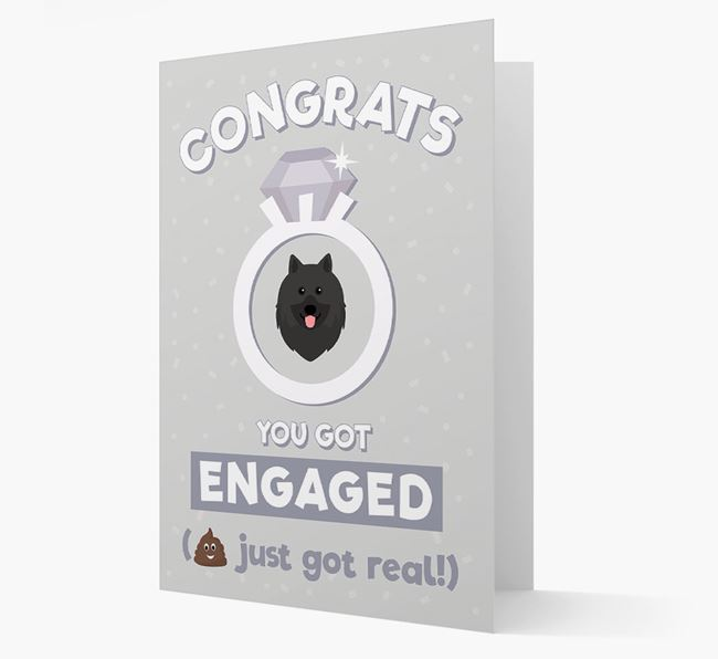 'Congrats You Got Engaged' Card with your Keeshond Icon