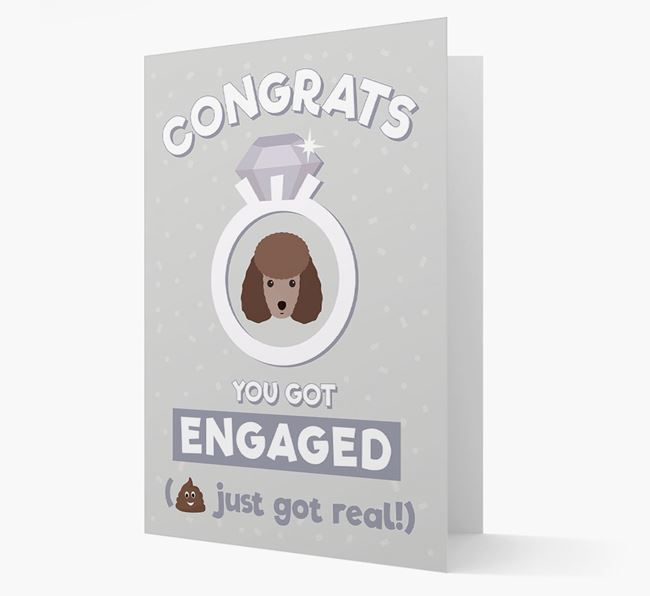 'Congrats You Got Engaged' Card with your Miniature Poodle Icon
