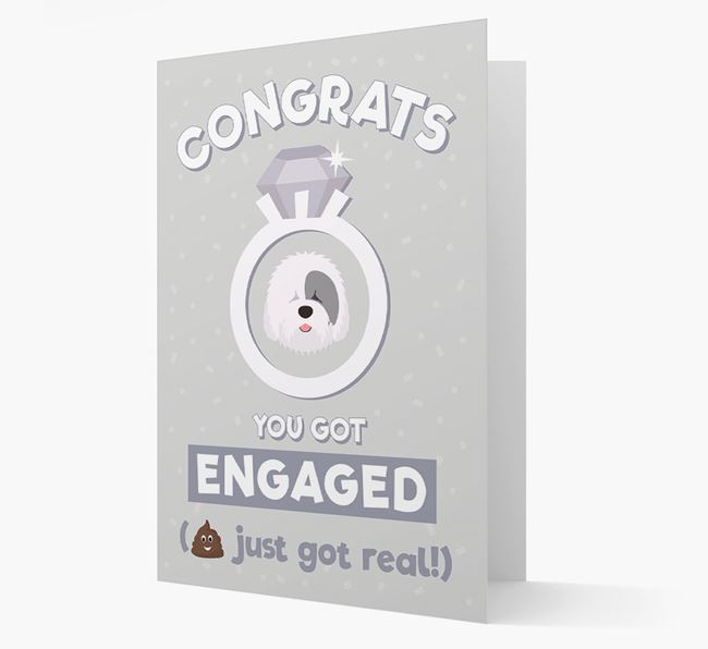 'Congrats You Got Engaged' Card with your Old English Sheepdog Icon