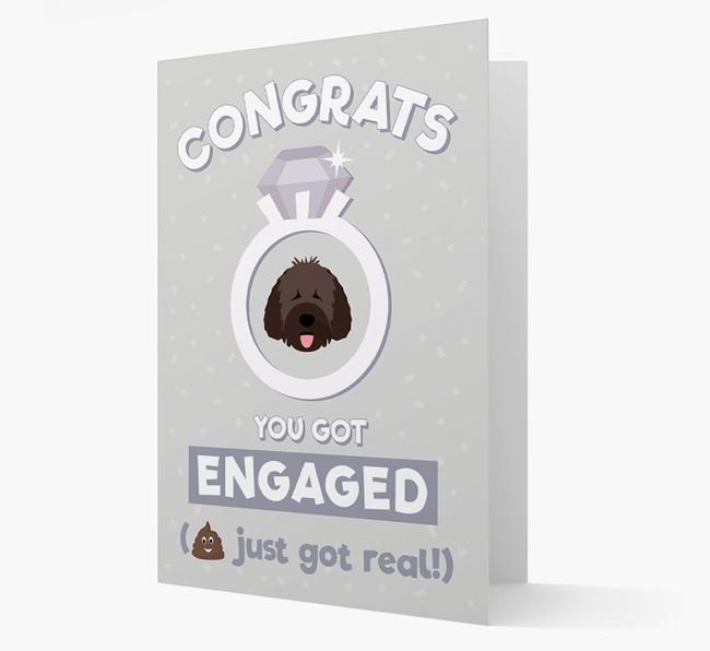 'Congrats You Got Engaged' Card with your Spanish Water Dog Icon