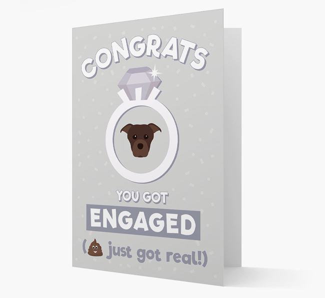'Congrats You Got Engaged' Card with your Staffordshire Bull Terrier Icon