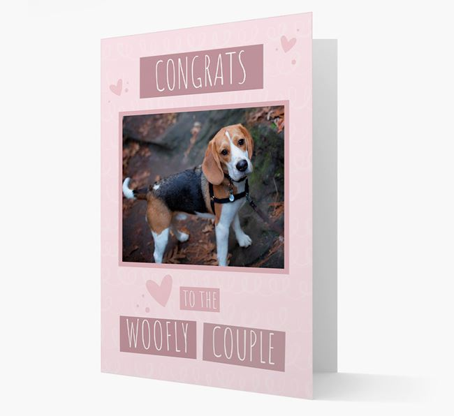 'Congrats To The Woofly Couple' Card with Photo of your Beagle