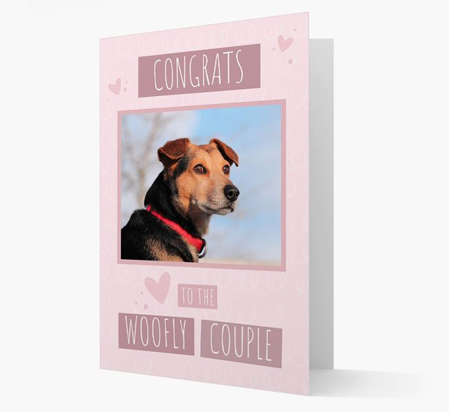 'Congrats To The Woofly Couple' Card with Photo of your Bearded Collie