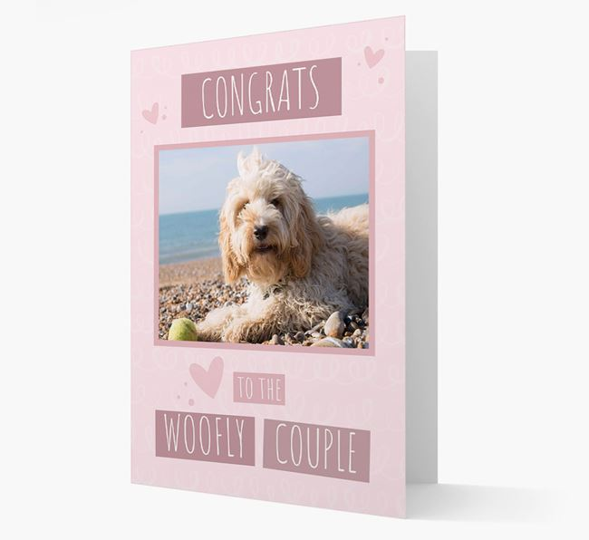 'Congrats To The Woofly Couple' Card with Photo of your Cockapoo