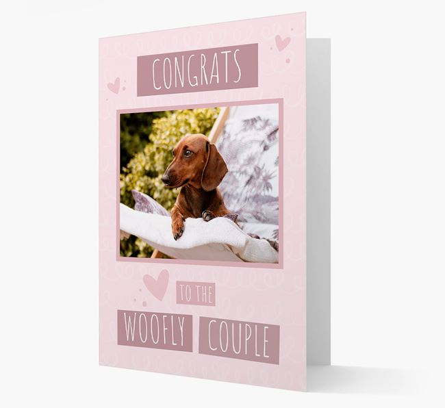 'Congrats To The Woofly Couple' Card with Photo of your Dachshund