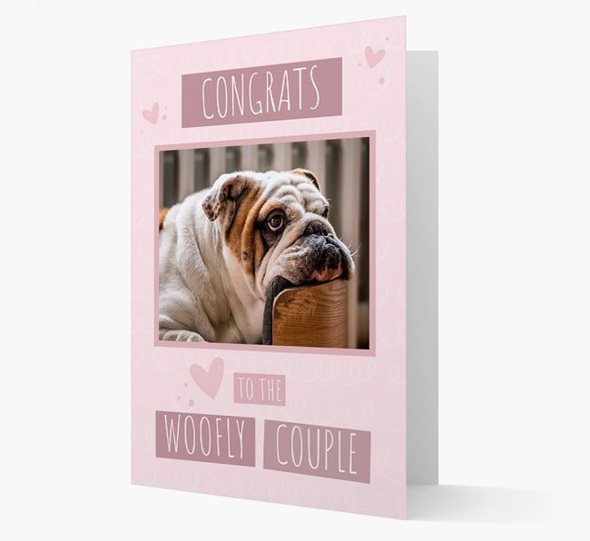 'Congrats To The Woofly Couple' Card with Photo of your English Bulldog