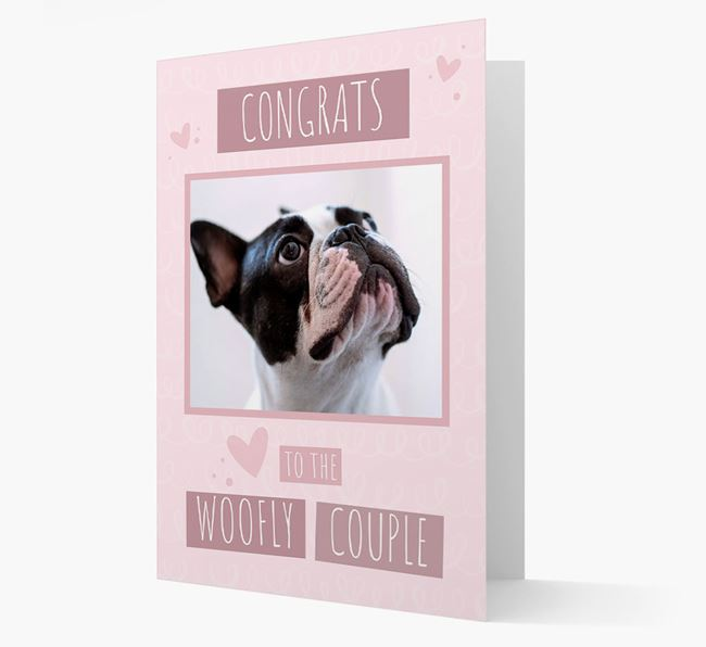 'Congrats To The Woofly Couple' Card with Photo of your French Bulldog