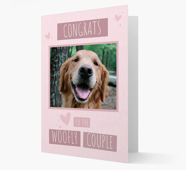 'Congrats To The Woofly Couple' Card with Photo of your Golden Retriever