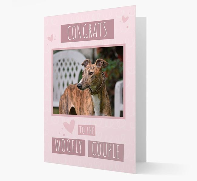 'Congrats To The Woofly Couple' Card with Photo of your Greyhound