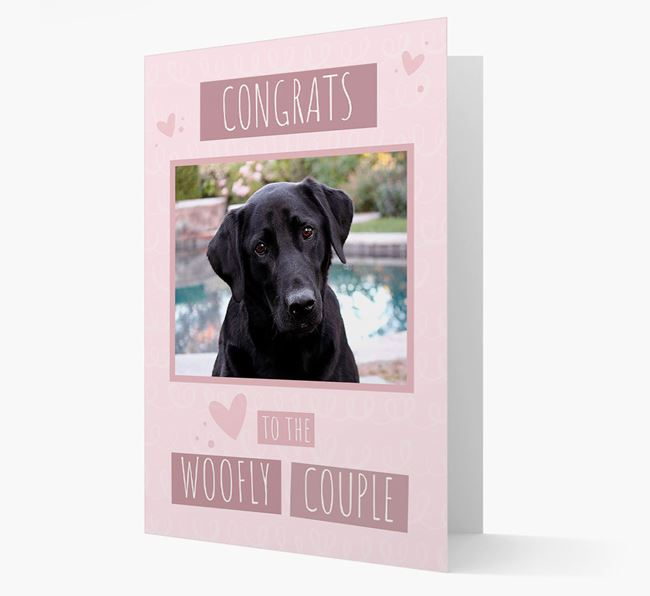 'Congrats To The Woofly Couple' Card with Photo of your Labrador Retriever