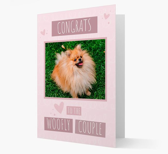 'Congrats To The Woofly Couple' Card with Photo of your Pomeranian
