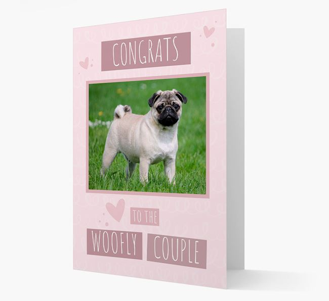 'Congrats To The Woofly Couple' Card with Photo of your Pug