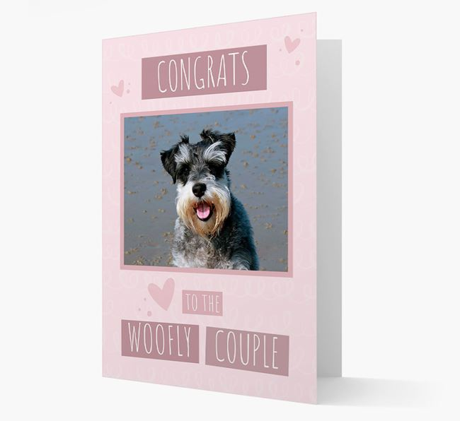 'Congrats To The Woofly Couple' Card with Photo of your Schnauzer