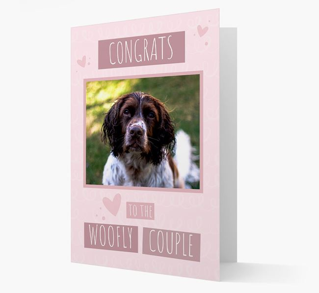 'Congrats To The Woofly Couple' Card with Photo of your Springer Spaniel