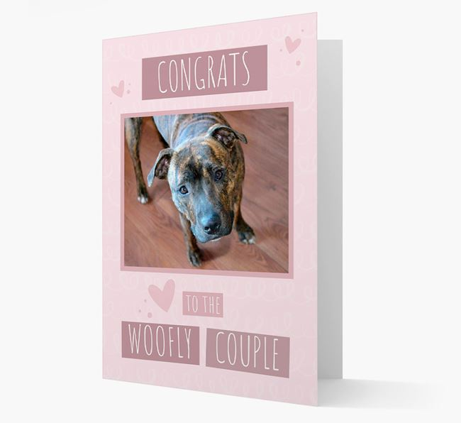 'Congrats To The Woofly Couple' Card with Photo of your Staffordshire Bull Terrier