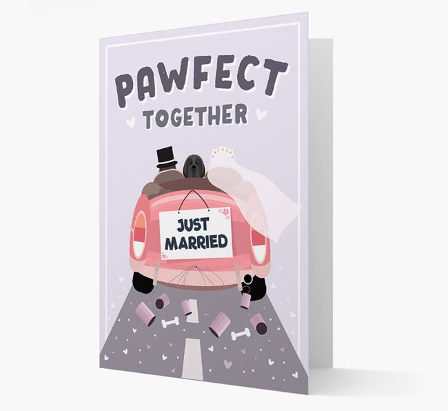 'Pawfect Together' Wedding Card with Bearded Collie Icon