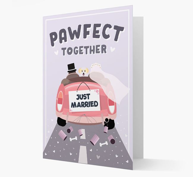 'Pawfect Together' Wedding Card with Bichon Yorkie Icon