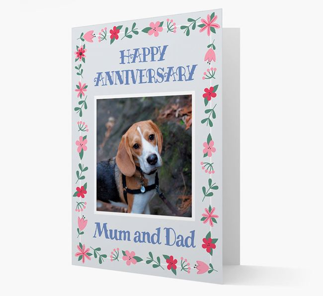 'Happy Anniversary Mum and Dad' Card with Photo of your Beagle
