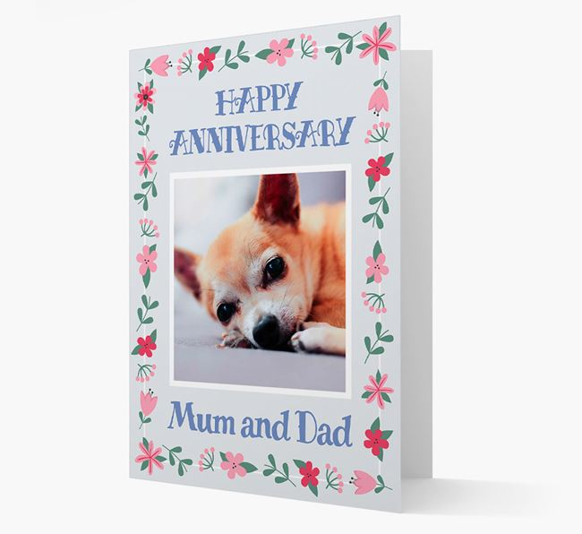 'Happy Anniversary Mum and Dad' Card with Photo of your Chihuahua
