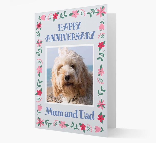 'Happy Anniversary Mum and Dad' Card with Photo of your Cockapoo